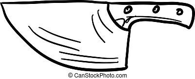 Machete drawing, illustration, vector on white background.