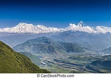 machhapuchhre, montagnes, annapurna