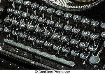 machine écrire, gros plan, vieux