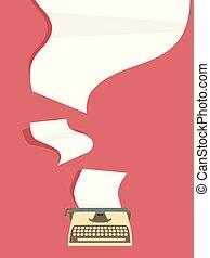 machine écrire, illustration, papiers