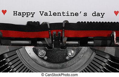 machine écrire, texte, heureux, jour, valentin, s, écrit