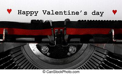 machine écrire, texte, heureux, jour, valentin, s