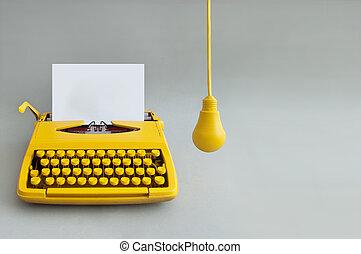 machine écrire, vendange, créativité
