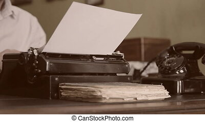 machine écrire, vendange, desk., vieux, téléphone