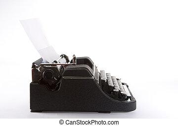 machine écrire, vieux, côté, façonné, vue