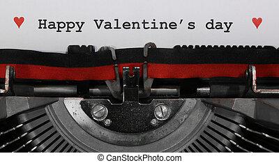 machine écrire, vieux, heureux, jour, valentin, s, écrit