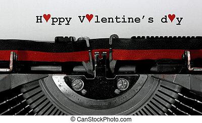 machine écrire, vieux, texte, heureux, jour, valentin, s, écrit