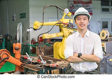 machine, électrique, robot, fonctionnement, ingénieur