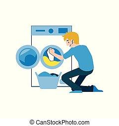 machine., πλύση , ποκάμισο , χονδρό παντελόνι εργασίας , t , άντραs , αβέστωμα , ένοικος , ρούχα