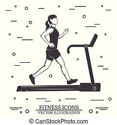 machine., τρέξιμο , illustration., μικροβιοφορέας , ποδόμυλος , κορίτσι
