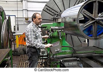 machine., фрезерование, старшая, промышленность, металл, cnc, workers