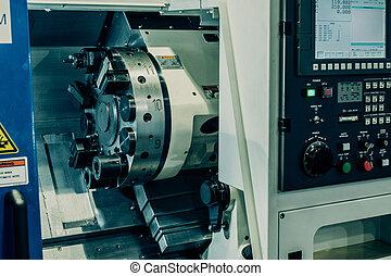 machine., 轉動, 車床, 傾斜, 床, cnc, 水平, lathes