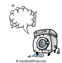 machine-100, myć, rysunek, wizerunek