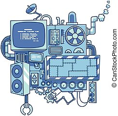 Machine 2 - Fictional cartoon machine with copy space...