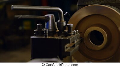 Machine and tools in workshop 4k - Close-up of machine and...