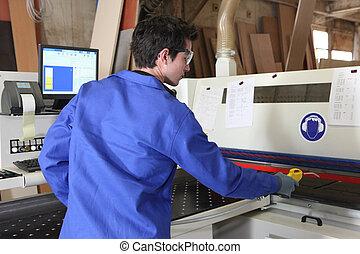 machine, arbeider, het werken, jonge, fabriek