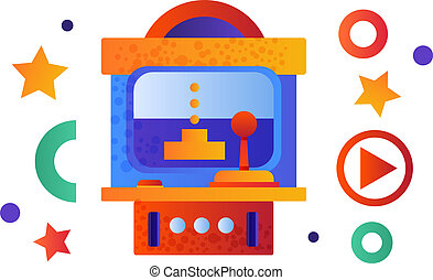machine, arcade, illustration, jeu, vecteur, retro, fond, blanc, tir