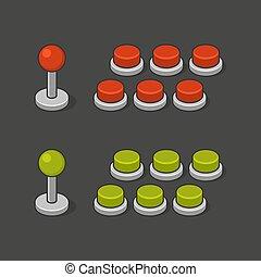 machine, arcade, set., boutons, jeu, vecteur, manche balai