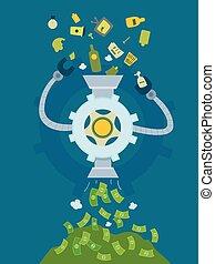 machine, argent, déchets, illustration