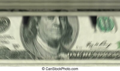 machine, argent, dollar, bas, 100, dénombrement, ?