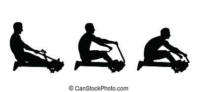 machine, aviron, exercice, homme