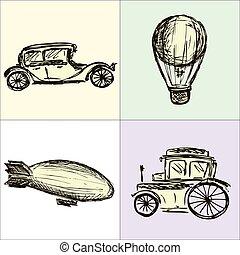 machine, balloon, steampunk, luchtschip, hand, vector, toestellen, tekening