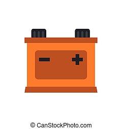 Machine battery icon, flat style