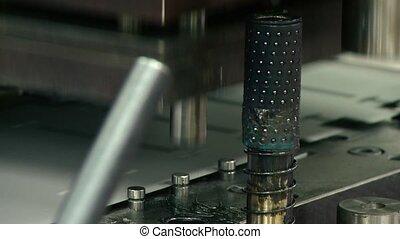 machine bending metal sheet closeup