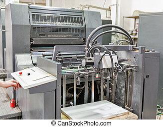 machine, bezig met afdrukken van, closeup