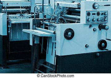 machine, bezig met afdrukken van, compensatie