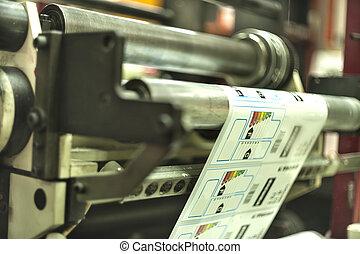 machine, bezig met afdrukken van, etiketten, compensatie