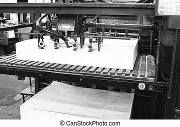 machine, bezig met afdrukken van, oud, compensatie