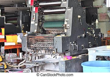 machine, bezig met afdrukken van, oud