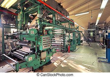 machine, bezig met afdrukken van