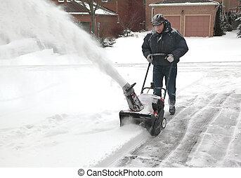 machine, blazen, sneeuw, werkende , man