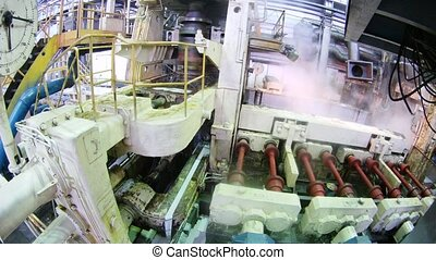 Machine blow off steam in course of work on rolling mill,...