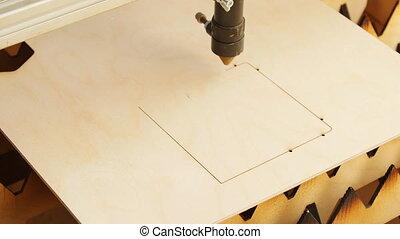 machine, bois, découpage, laser, contre-plaqué
