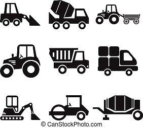 machine, bouwsector, vector, liggen