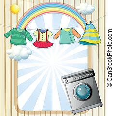 machine, bovenzijde, kleren pleisterend, hangend