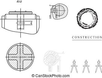 machine-building, 圖, 上, a, 白色 背景