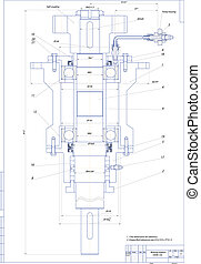 Machine-building drawing. Bearing support. Vector illustration