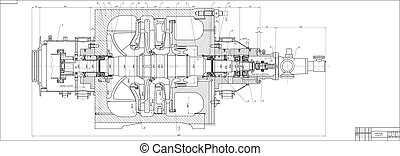 machine-building, drawing., bomba