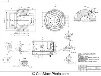 Machine-building drawing. Vector illustration