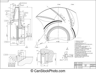 Machine-building drawing. Impeller. Vector illustration