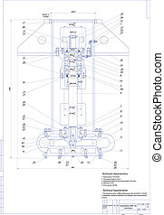 machine-building, drawing., pompa