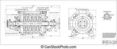 Pump - Machine-building drawing. Pump. Vector illustration
