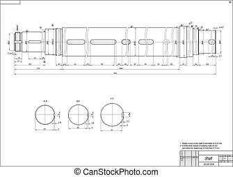 Shaft - Machine-building drawing. Shaft. Vector illustration