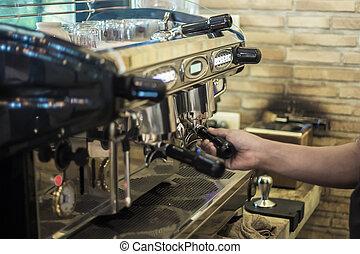 machine, café faisant, homme