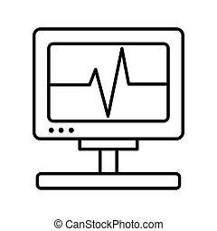 machine cardiology test line style icon