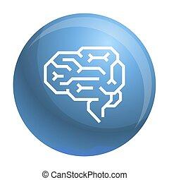 machine, cerveau, icône, style, contour